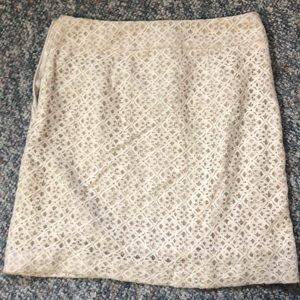 LOFT Cream/Champagne Lace Skirt